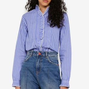 Scotch and Soda blue and white ruffled shirt